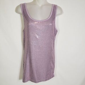 Studio Y Sequin Bling Sleeveless Tank Top Stretch